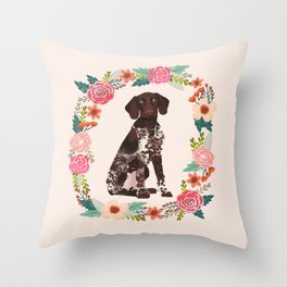 german shorthair pointer floral wreath spring dog breed pet portrait gifts Throw Pillow