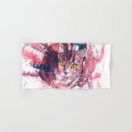 Cat Portrait, pink and purple shades, abstract acrylic painting Hand & Bath Towel