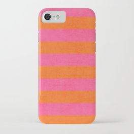 hot pink and orange stripes iPhone Case
