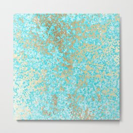 Abstract teal white faux gold modern pattern Metal Print