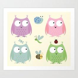 Owl Friends - Pink Art Print