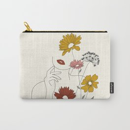 Colorful Thoughts Minimal Line Art Woman with Flowers III Carry-All Pouch