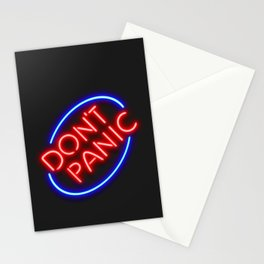 "Hitchhiker's Guide - ""Don't Panic"" Neon Sign Stationery Cards"