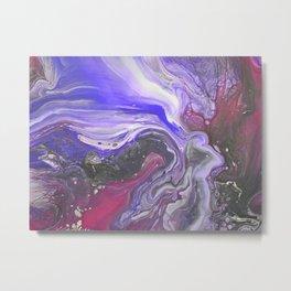 Pipe Down -  Purple Fluid Liquid Painting Pink Grey Swirls Marble Metal Print