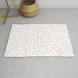 Girly Rose Gold Dots Confetti White Design Rug