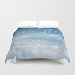 Snow Bokeh Blue Pattern Winter Snowing Abstract Duvet Cover
