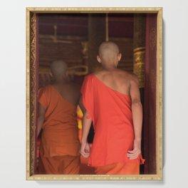 Monks Entering the Temple - Luang Prabang, Laos Serving Tray