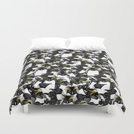 just penguins black white yellow Duvet Cover