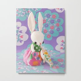Little bunny and Little whale Metal Print