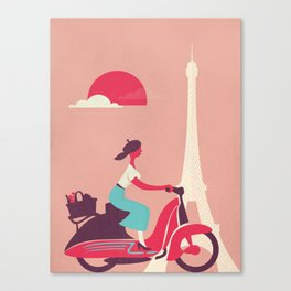 French girl on a Scooter Canvas Print