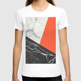 Black and White Marble with Pantone Flame Color T-shirt