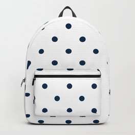 Navy Blue & White Polka Dots Backpack