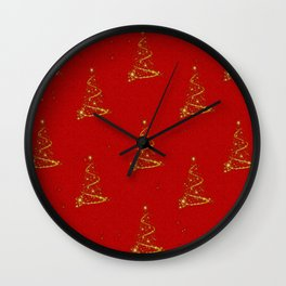 Gold Christmas Trees Wall Clock