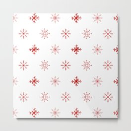 Christmas Red Snowflake Pattern Metal Print