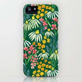 Wildflower Floral Face Mask on Green by Lindsay Brackeen iPhone Case