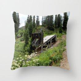Black Bear Pass Road - Gold Rush Ore Loading Chute, No. 2 of 3 Throw Pillow