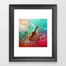 Violin with violin bow Framed Art Print