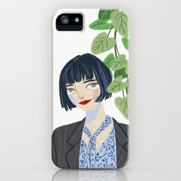 Short hair girl with green plan iPhone Case