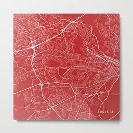 Augusta Map, USA - Red Metal Print