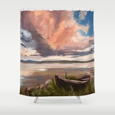 Sunrise over the lake Shower Curtain