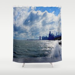 When Sandy Made Waves in Chicago #4 (Chicago Waves Collection) Shower Curtain