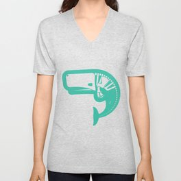 A Whale of Time- Tealy Wheely Automobile-y Unisex V-Neck
