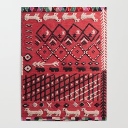 V22 Sheep herd Design Traditional Moroccan Carpet Texture. Poster