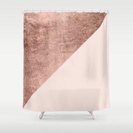 Minimalist blush pink rose gold color block geometric Shower Curtain