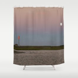 Romantic Galveston Beach Strawberry Full Moon Shower Curtain