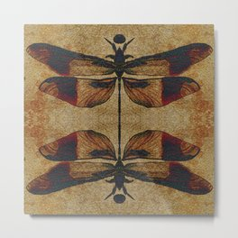 Dragonfly 2.0 Mirrored on Leather Metal Print