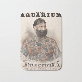 Vintage Tattoo Print of Captain Costentenus Bath Mat