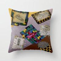 da vinci Throw Pillows featuring Tribute to Leonardo da Vinci by Art By Carob