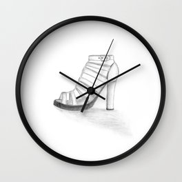 SHOE I - pencil illustration Wall Clock