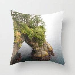 Cape Flattery Arch Ocean Rock Geology Washington Cliff Hiking Forest Trees Throw Pillow