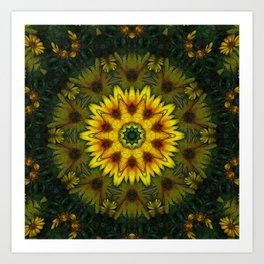 Large Yellow Wildflower Kaleidoscope Art 7 Art Print