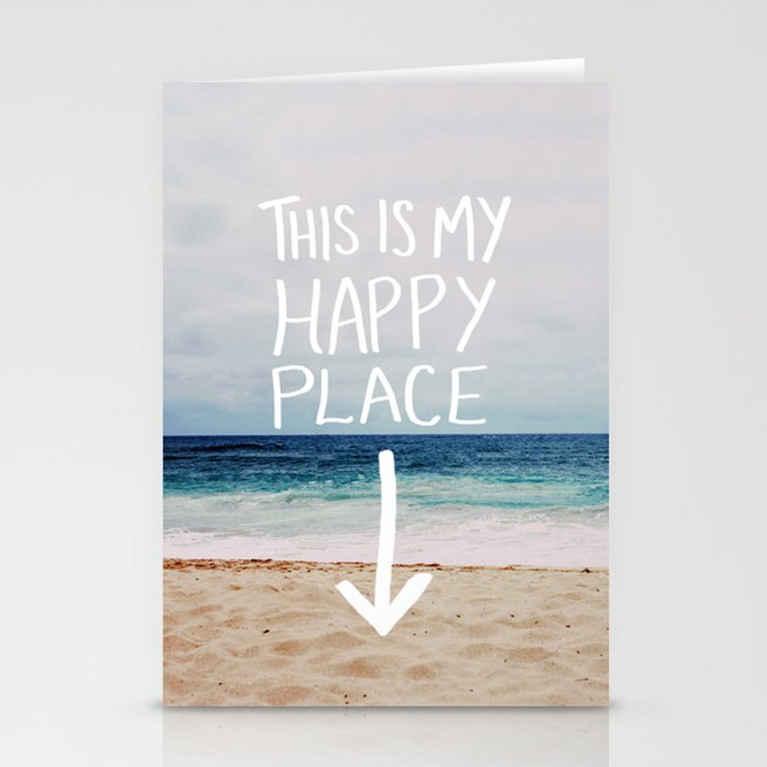 my happy place beach stationery cards by floresimagespdx society6
