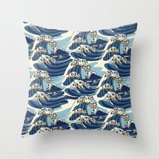 The Great Wave of Pug Pattern Throw Pillow