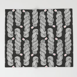 Yarn Crafter Skein Love White on Black Throw Blanket
