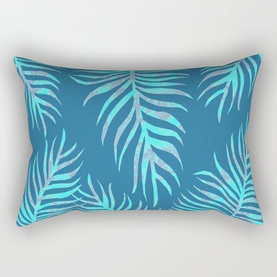 Fern Pattern On Blue Background Rectangular Pillow