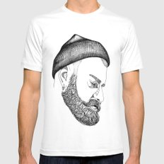 CAP & BEARD White SMALL Mens Fitted Tee