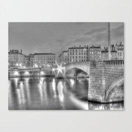 Bonaparte bridge in Lyon, France - hdr b&w Canvas Print