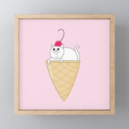 ICE CREAM CAT Framed Mini Art Print
