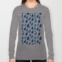 watercolor rain drops, seamless background with stylized blue raindrops Long Sleeve T-shirt