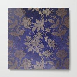 Blue Velvet Gold Floral Pattern 05 Metal Print