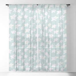 Stars on mint background Sheer Curtain