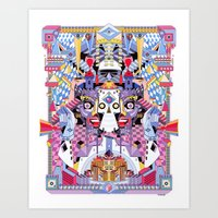 psychadelic Art Prints featuring yo by yoaz