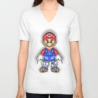 mario kart V-neck T-shirts featuring It's ME, Evil Mario !  by Art & Be