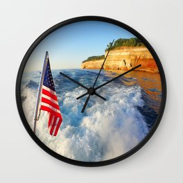Pictured Rocks Flag Wall Clock