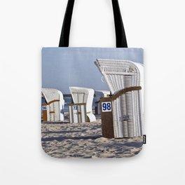 White Beach Chairs Tote Bag