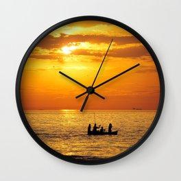 Sunset Boating Wall Clock
